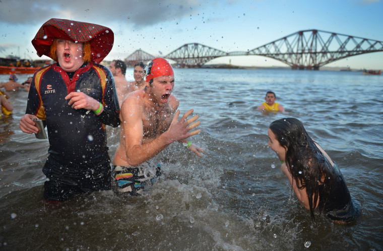 Image: BESTPIX  Swimmers Brave The Loony Dook New Years Day Swim By Forth Bridge