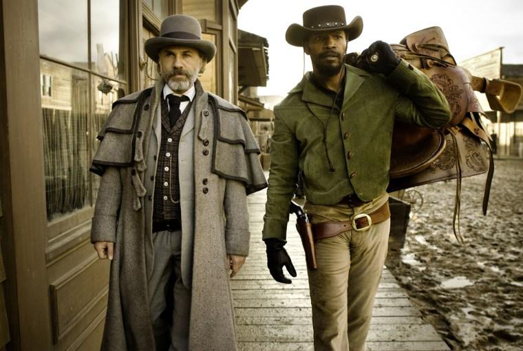 Christoph Waltz as Schultz and Jamie Foxx as Django in DJANGO UNCHAINED. Credit: Andrew Cooper, SMPSP / The Weinstein Company.