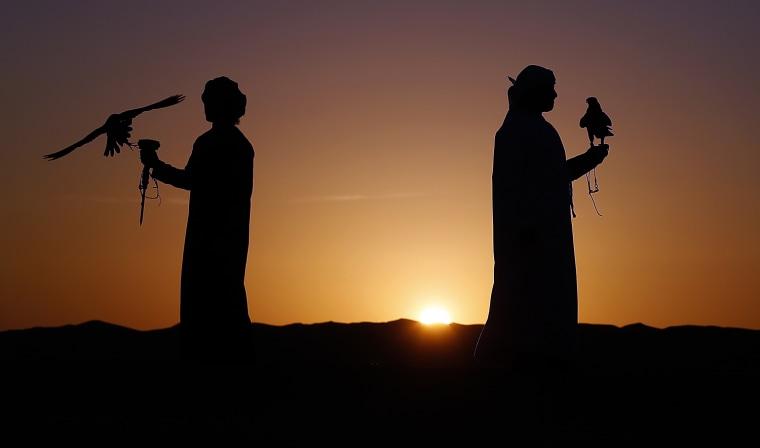 Image: TOPSHOTS-UAE-FESTIVAL-FALCONRY