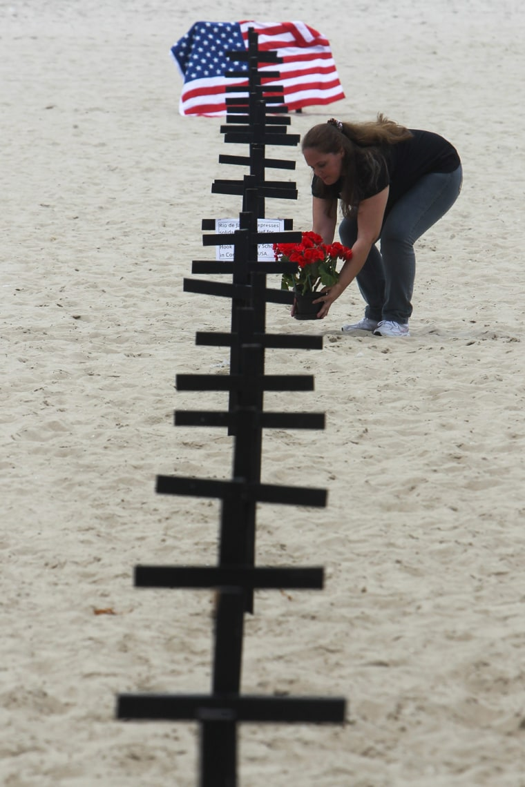 Image: Tributes on Copacabana beach