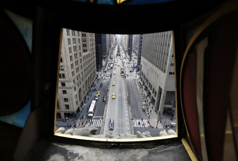 Image: A view looking out from the Tiffany clock over Park Ave and 42nd St. at Grand Central Terminal in New York