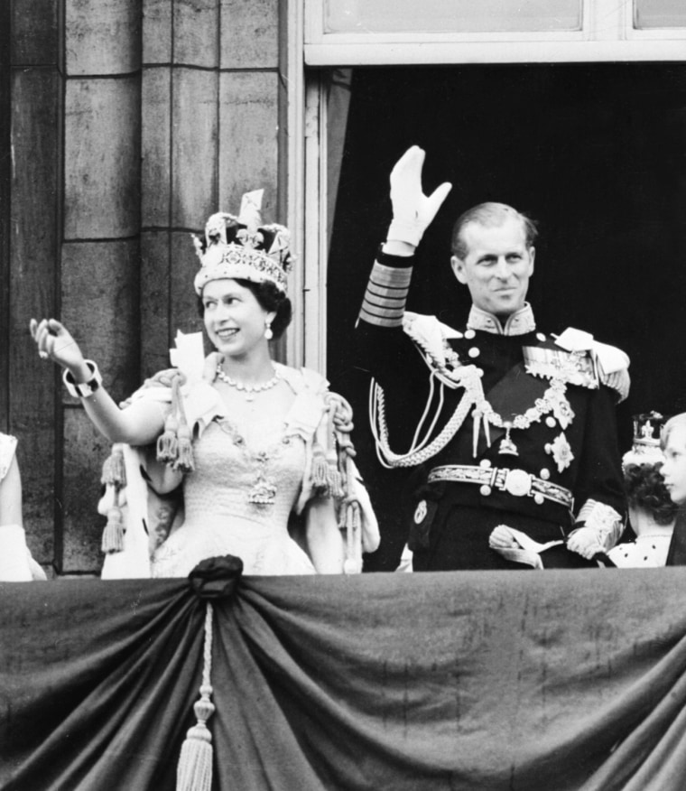 Queen Elizabeth II accompanied by Prince
