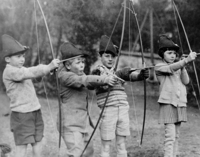 Young Prince Philip, second from left, is seen as a schoolboy at the MacJannet American School in St. Cloud, France, in 1929 or 1930.  His schoolmates, from left, are, Jacques de Bourbon, Teddy Culbert, son of a member of the U.S. Foreign Service, and Alice Henderson, daughter of a South African doctor.
