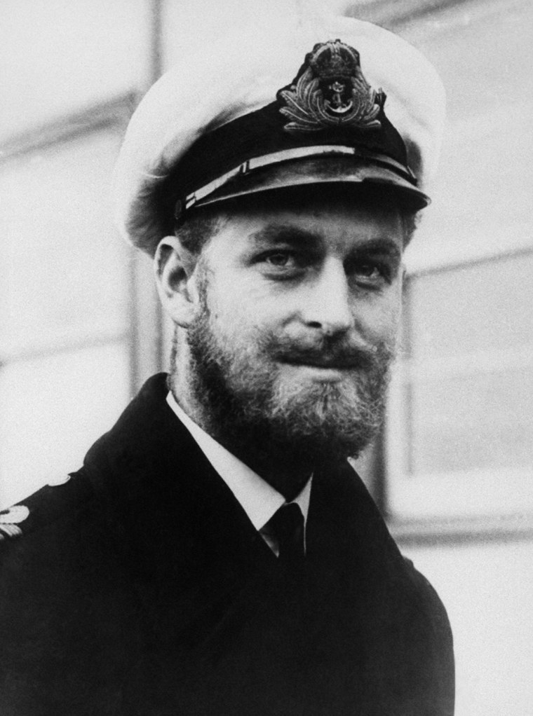 Prince Philip of Greece and Prince of Denmark, visited Melbourne, Australia, on Aug. 29, 1945.  He is a cousin of King George of Greece and the Duchess of Kent, and is serving with the Royal Navy as second in command of a destroyer of the Pacific Fleet.