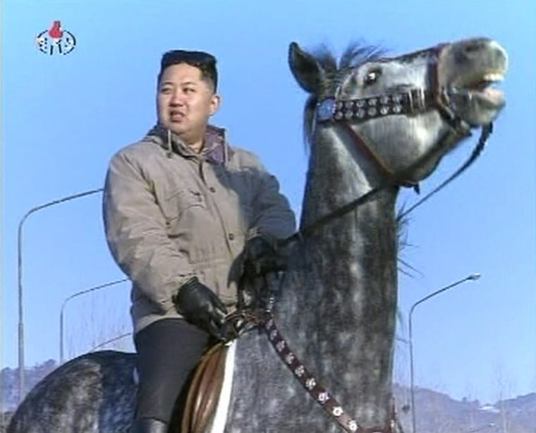 Image: New leader of North Korea Kim Jong-un rides a horse in this undated still image taken from video at an unknown location