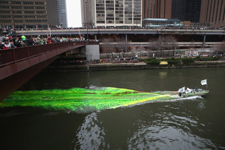 Image: Chicago River Dyed Green In St. Patrick's Day Tradition