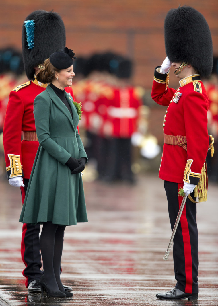 Image: The Duke And Duchess Of Cambridge Visit the 1st Battalion Irish Guards On St Patrick's Day