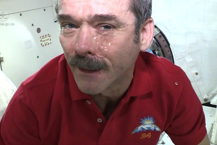 """Watch how Canadian astronaut and commander of the International Space Station Chris Hadfield demonstrates what happens when you cry in space. The tech savvy astronaut tweeted in January that it can hurt to squirt tears in space, since they """"don't shed."""""""