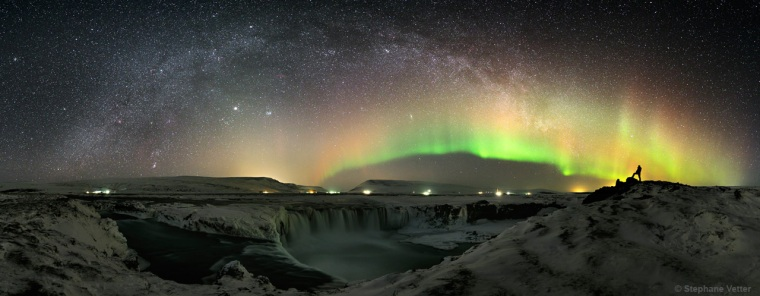 The Milky Way and aurora over Godafoss (or waterfall of the gods), Iceland. This image by Stephane Vetter of France (www.nuitsacrees.fr) was the first winner in the Beauty of the Night Sky category.