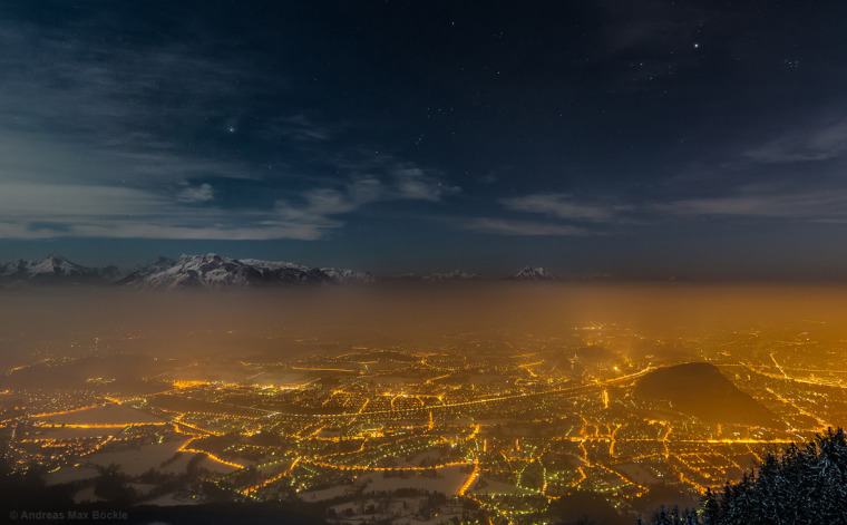 Stars over Salzburg, Austria, by Andreas Max Baeckle. This image was the first winner in the Against the Lights category.