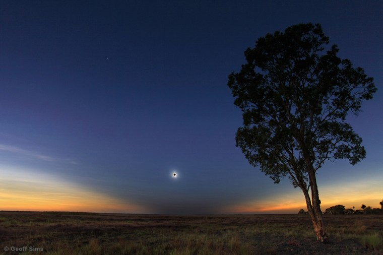 The Nov. 14 solar eclipse in Queensland, Australia, by Geoff Sims (www.beyondbeneath.com.au). this image was the 5th winner in the Beauty of the Night Sky category.