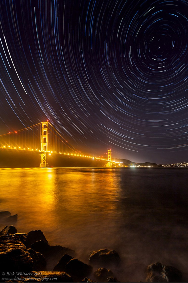 Star trails over San Francisco's Golden Gate Bridge by Rick Whitacre (www.whitacrephotography.com). This image was the 5th winner in the Against the Lights category.