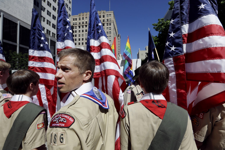 Image: Boy Scouts prepare to march in Seattle's Gay Pride Parade