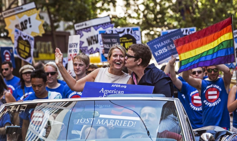 Image: Kris Perry and Sandy Stier during the San Francisco Pride Parade in San Francisco, California.