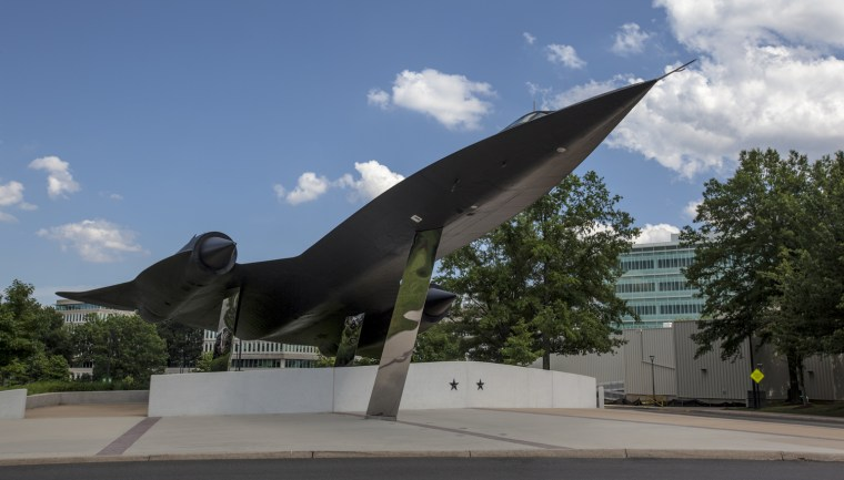 The Lockheed A-12 OXCART aircraft was developed for the CIA as a reconnaissance aircraft and used to collect intelligence over North Korea and North Vietnam. A CIA A-12 was able to find the USS Pueblo, a Navy intelligence gathering ship that had been seized by the North Korea, in a North Korean port. After 29 missions the planes were replaced by the U.S. Air Force's similar SR-71 program. The plane seen here was recently installed on the CIA grounds. The two stars on the base represent two pilots who were killed during training missions.