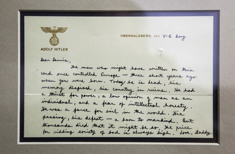 Saturday, July 29, 2013, in McLean, VA (John Makely / NBC News)  The CIA museum. LETTER FROM FUTURE CIA DIRECTOR RICHARD HELMS TO HIS YOUNG SON, WRITTEN ON A SHEET OF HITLERÕS PERSONAL STATIONARY, Dated May 8, 1945 (Victory in Europe Day),  the note began: ÒDear Dennis, The man who might have written on this card once controlled EuropeÑthree short years ago when you were born. Today he is dead, his memory despised, his country in ruins.Ó
