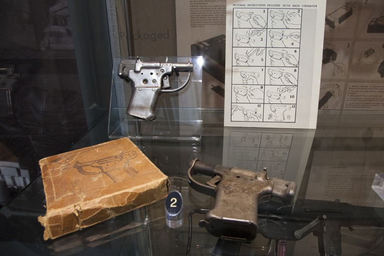 Saturday, June 29, 2013, in McClean, VA (John Makely / NBC News)  The CIA museum  Liberator Pistols were designed for widespread distribution to partisan groups during WWII. Underground forces could use it as a close-range, antipersonnel weapon to attack an enemy soldier and relieve him of his more powerful rifle or handgun. This .45 caliber weapon was easy to operate and cost only $1.72 apiece.