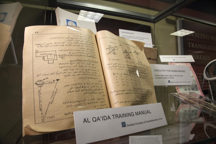 Saturday, July 29, 2013, in McLean, VA (John Makely / NBC News)  The CIA museum. An Al Quaeda training manual.