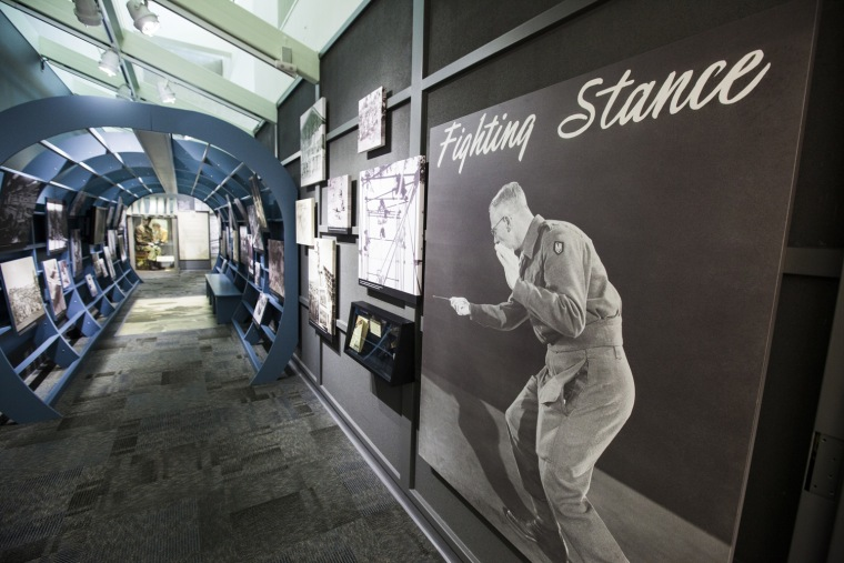 Located in the CIA's New Headquarters Building, the Office of Strategic Services (OSS) section of the museum recognizes the work done by the intelligence service created during World War II to run spies and support resistance movements in Axis-controlled areas of Europe and Asia. The OSS was the predecessor of the CIA, which was formed a year after the war.
