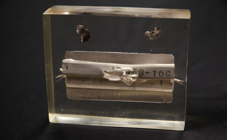 Saturday, July 29, 2013, in McLean, VA (John Makely / NBC News)  The CIA museum.  Shrapnel and a section of wing damaged when a surface to air missile exploded near an A-12 Oxcart during a mission over North korea in 1967.