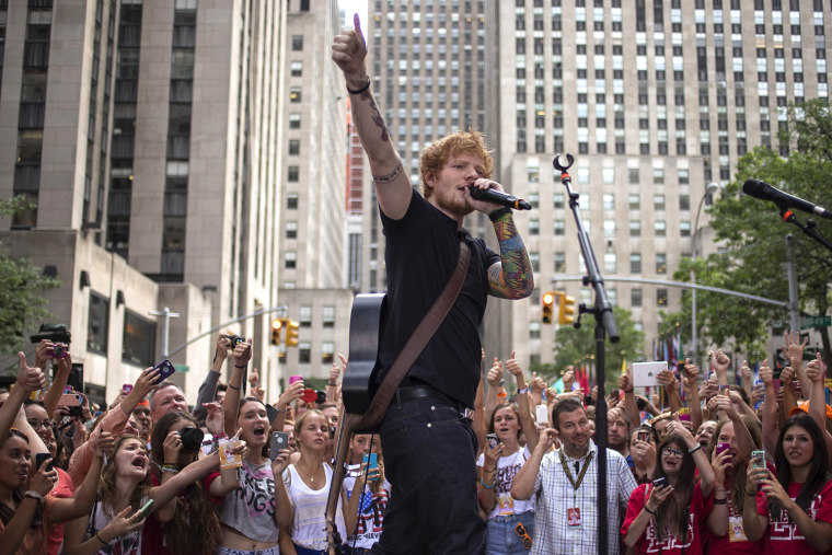 Image: British singer-songwriter Ed Sheeran performs on NBC's 'Today' show in Midtown, New York