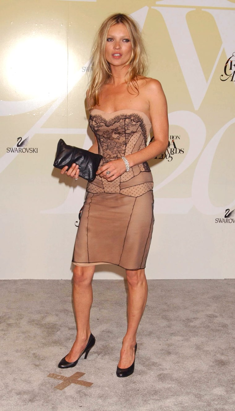 Kate Moss attends the 2005 CFDA Fashion Awards sponsored by Swarovski, held at the New York Public Library, Monday, June 6, 2005 in New York. (AP Photo/Jennifer Graylock)