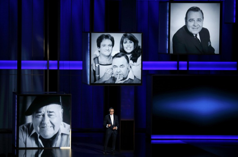 Image: Actor Robin Williams pays tribute to the late Jonathan Winters at the 65th Primetime Emmy Awards in Los Angeles