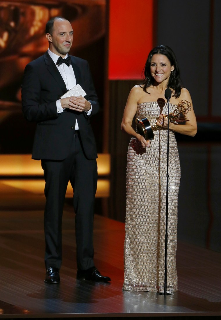 "Image: Louis-Dreyfuss accepts the award for Outstanding Lead Actress In A Comedy Series for her role in HBO's ""Veep"" as co-star Hale looks on at the 65th Primetime Emmy Awards in Los Angeles"