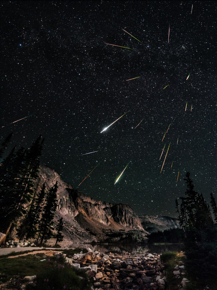 Highly Commended:  Snowy Range Perseid Meteor Shower © David Kingham (USA)  A great deal of careful planning, a long night of photography and hours of painstaking image processing have gone into creating this startling composite image of the Perseid meteor shower. The Perseid meteors get their name from the constellation of Perseus from where they appear to come. However, even at the peak of the shower it is impossible to predict exactly when or where the next meteor will appear. The photographer has combined 23 individual stills to convey the excitement and dynamism of this natural firework display.