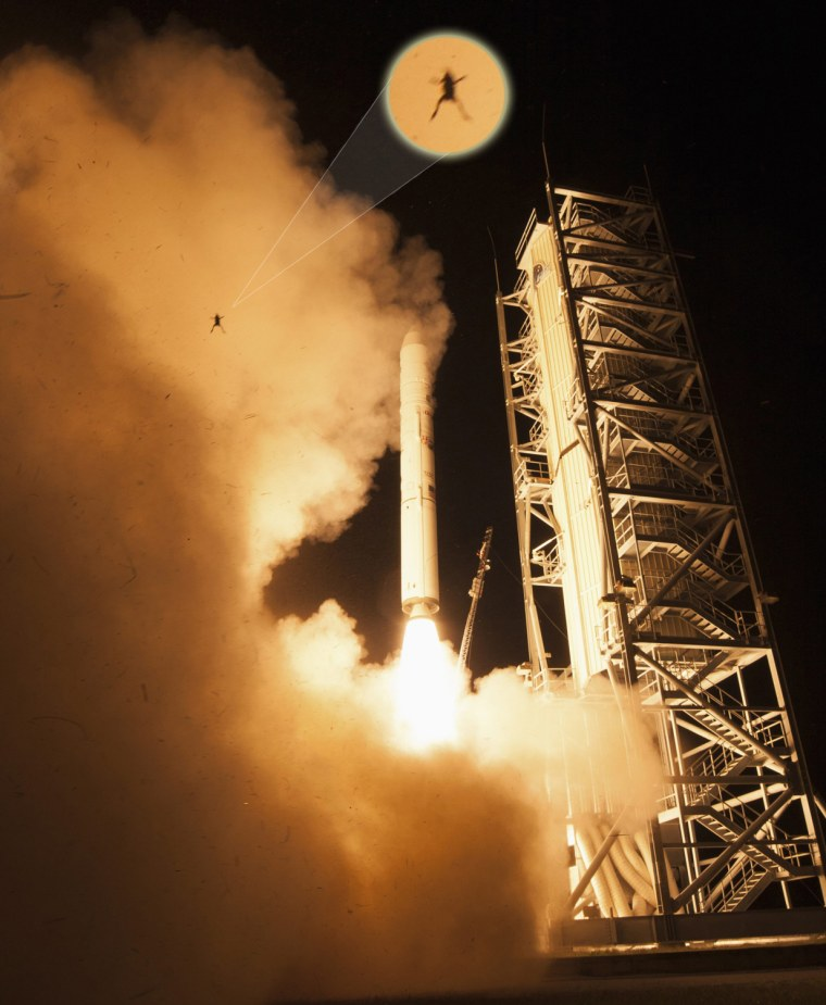 Image: Image: A frog is captured during a lift off of NASA's Lunar Atmosphere and Dust Environment Explorer from NASA's Wallops Flight Facility in Virginia