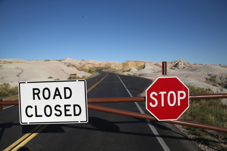 Image: Badlands National Park Closed Due To Government Shutdown