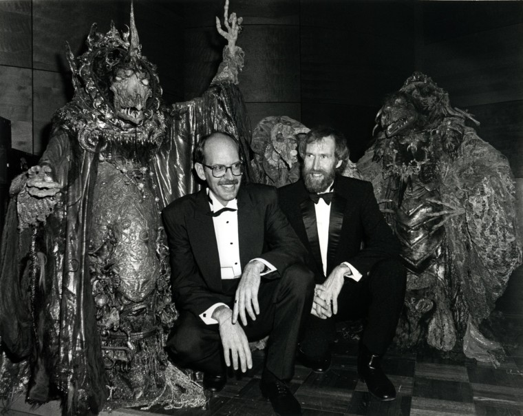Frank Oz and Jim Henson at the premiere party for The Dark Crystal. (Courtesy of The Jim Henson Company)
