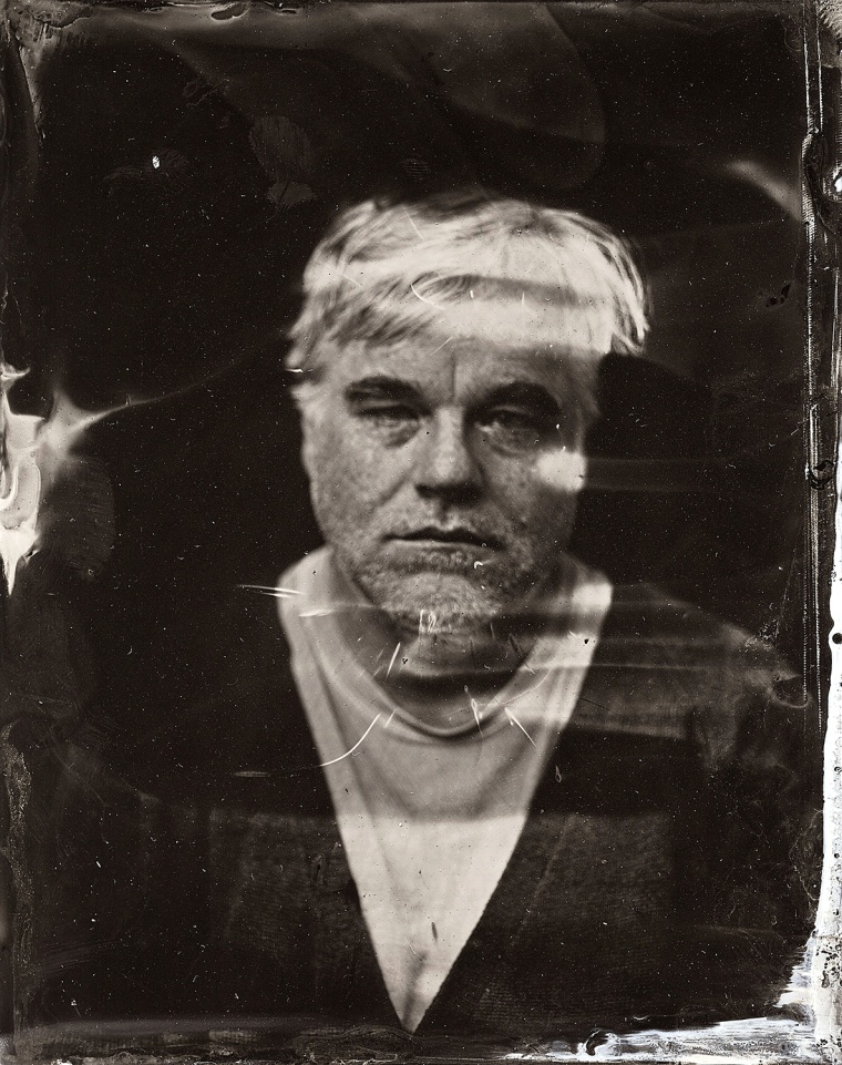 EXCLUSIVE PREMIUM RATES APPLY- Philip Seymour Hoffman  poses for a tintype (wet collodion) portrait at The Collective and Gibson Lounge Powered by CEG, during the 2014 Sundance Film Festival in Park City, Utah. (Photo by Victoria Will/Invision/AP)