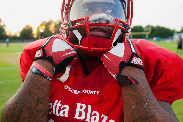 Jarvis Benford of Delta Blaze semi-pro football team during a game at Amanda Elzy High School in Greenwood, Mississippi on July 28, 2012.