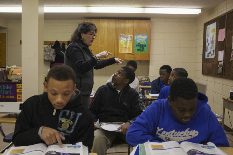 A teacher interacts with students at Delta Streets Academy, a high school for at-risk young men in Greenwood, Mississippi on February 2, 2014. Founded in 2012 by T.Mac Howard, a former public school teacher in Greenwood, Delta Streets seeks to equip young men coming from at-risk neighborhoods to be future leaders. Howard became aware of the community's need while seeing the astronomical dropout rates in the public school system. The school currently houses 7th - 9th grades, but they hope to expand to be 7th - 12th grades.