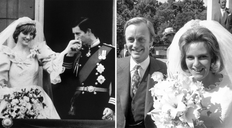 Charles, Prince of Wales, kisses the hand of his bride, Lady Diana, on the balcony of Buckingham Palace when they appeared before a huge crowd, on July 29, 1981, after their wedding in St Paul's Cathedral.  AFP PHOTO (Photo credit should read ARCHIVE/AFP/Getty Images) 4th July 1973:  Camilla Shand and Captain Andrew Parker Bowles outside the Guards' Chapel on their wedding day.  (Photo by Frank Barratt/Keystone/Getty Images)
