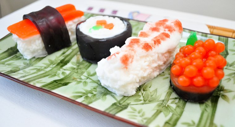 Sushi Soap Gift Set - Wasabi Scented - Vegan Soap - food soap - Shrimp, Maki, Roe, Tuna in a real Sushi Take out Box   https://www.etsy.com/listing/81625462/sushi-soap-gift-set-wasabi-scented-vegan?ref=shop_home_active_24