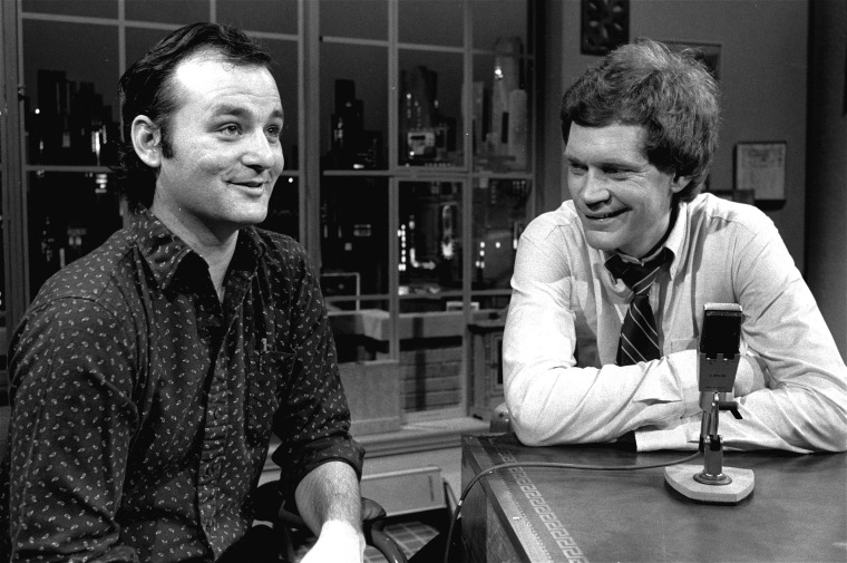 "David Letterman at the taping of his first talk-comedy hour ""Late Night with David Letterman"" with guest Bill Murray, February 1, 1982 in New York. (AP Photo/Nancy Kaye)"