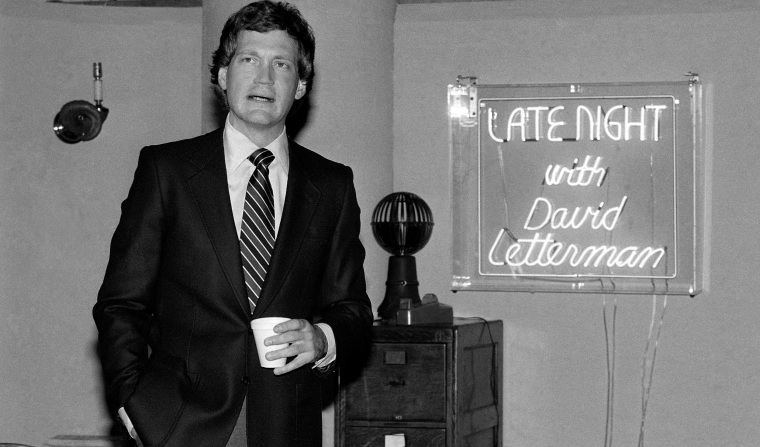 "David Letterman at reception in NBC's Studio 6A January 19, 1982 at the announcement of new NBC comedy show ""Late Night With David Letterman"". (AP Photo/Perez)"