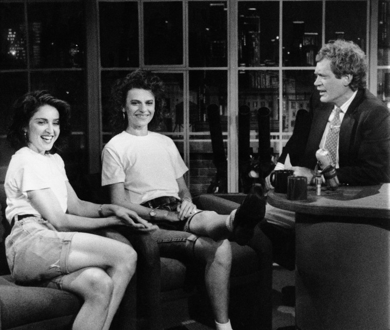 Superstar singer and now stage actress Madonna joined host David Letterman and comedian Sandra Bernhard for the taping of ?Late Night with David Letterman? in NBC Studios on Friday, July 1, 1988 in New York. Madonna?s first appearance on the show was a surprise addition to the celebration of the series? 1,000th taping. (AP Photo/NBC)