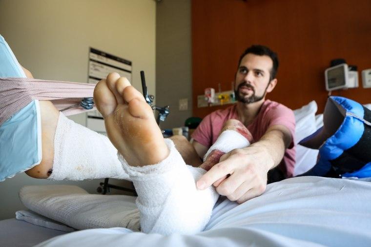Image: Injured Boston Marathon survivors, one month later