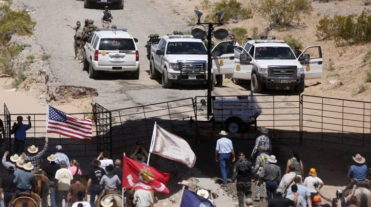 Image: Protesters gather at the Bureau of Land Management's base camp near Bunkerville, Nevada