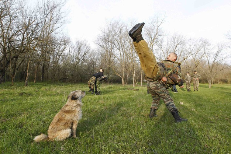 Image: Students from the General Yermolov Cadet School perform fitness exercises during a two-day field exercise near the village of Sengileyevskoye
