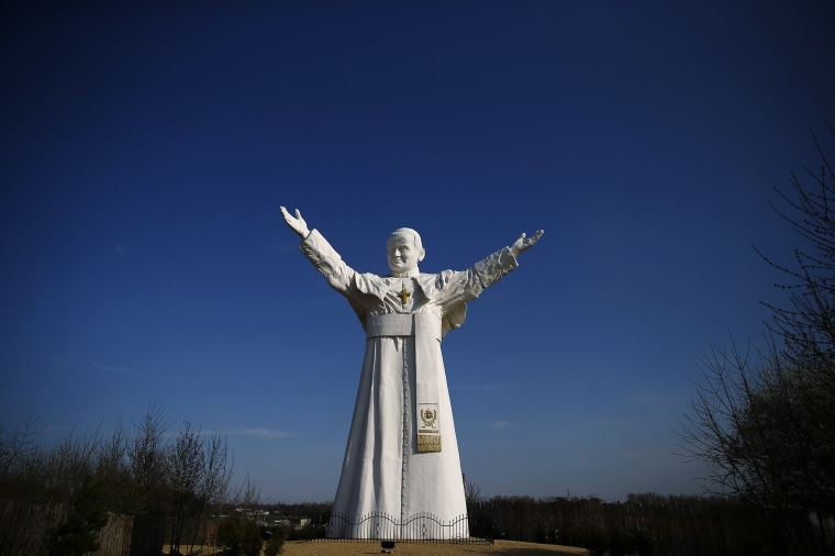 Image: A monument of the late Pope John Paul II stands in Czestochowa, southern Poland
