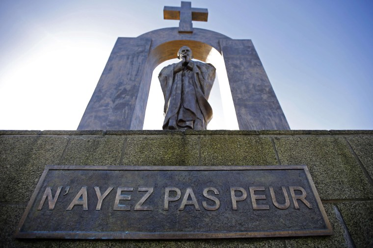 Image: A statue of the late Pope John Paul II stands in Ploermel