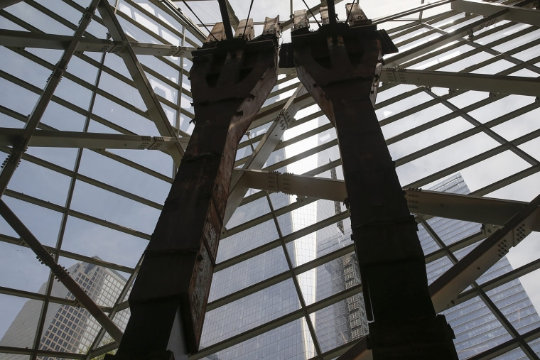 Image: The salvaged tridents from the World Trade Center are seen in the National September 11 Memorial & Museum during a media preview in New York