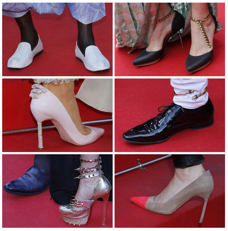 Image: A combination photo shows details of shoes worn by guests pictured as they pose on the red carpet arriving for a film screening at the 67th Cannes Film Festival in Cannes