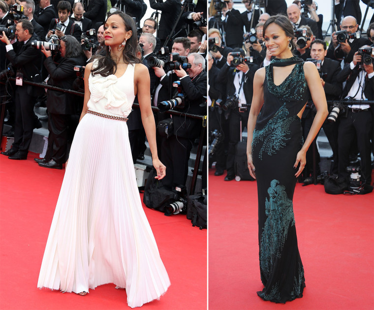 """CANNES, FRANCE - MAY 14:  Zoe Saldana attends the Opening ceremony and Premiere of """"Grace of Monaco"""" at the 67th Annual Cannes Film Festival on May 14, 2014 in Cannes, France.  (Photo by Michel Dufour/Getty Images)"""