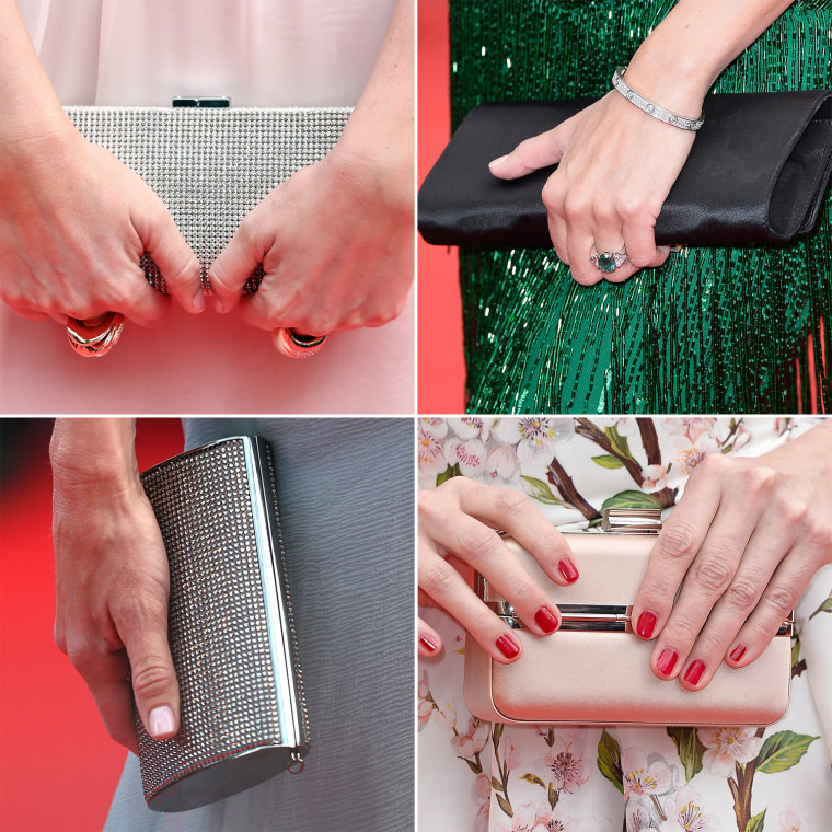 A combination photo shows details of clutches held by guests pictured as they pose on the red carpet arriving for the 67th Cannes Film Festival in Cannes, France.