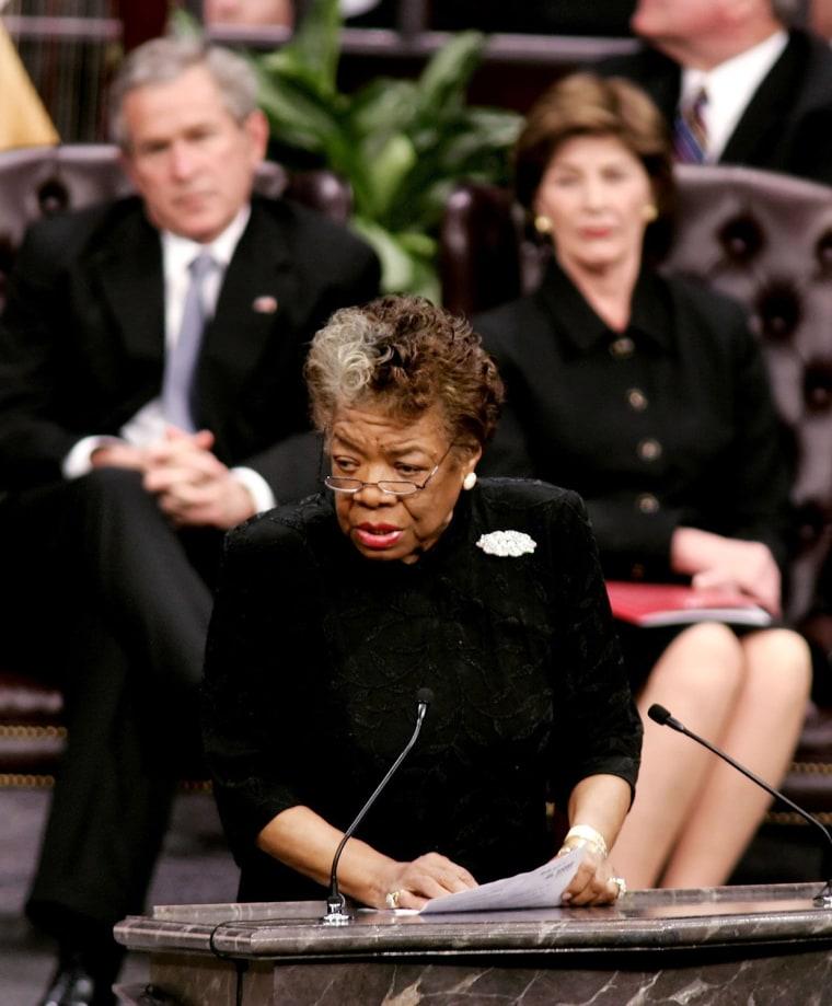 Image: FILE: Poet Maya Angelou Dies At Age 86 Funeral Held For Coretta Scott King